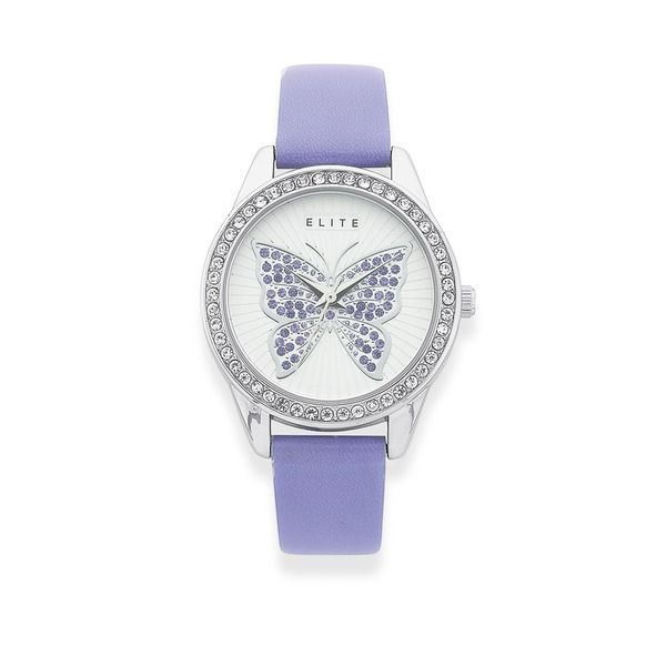 Elite Silver Tone Crystal Set Butterfly Watch With Lavender Strap
