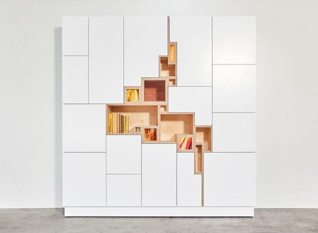 szekrény, tároló, design, nyitott, zárt, fehér, üveg front Filip Jansens, LED