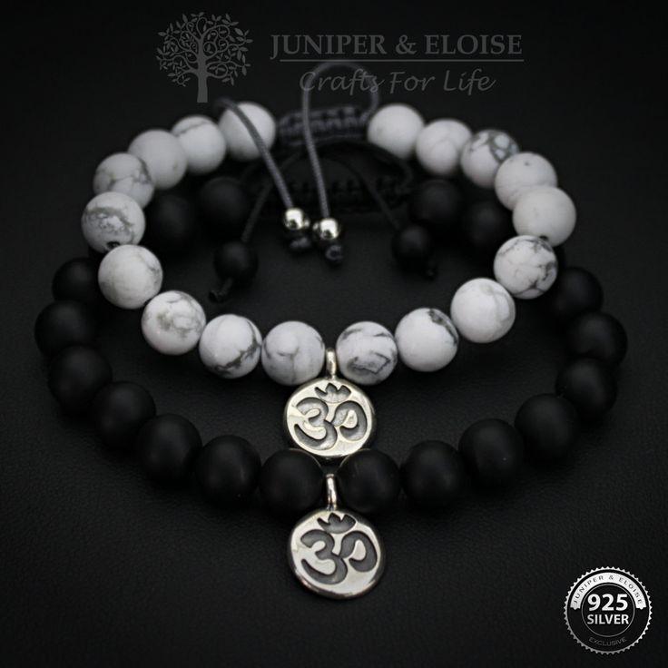 Couple Bracelets, Lovers Bracelet, Ying Yang, Om Bracelet, Couple Jewelry, His Hers , Anniversary gift, Karkötő, Couples Gift Set by JuniperandEloise on Etsy