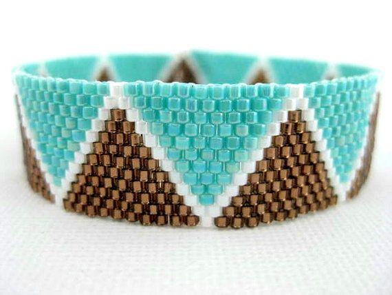 Perles Peyote Bracelet Marron graine Turquoise