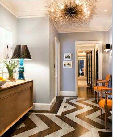 Love it.: Decor, Interior, Idea, Wall Color, Chevron Floors, Light Fixture, Design, Painted Floors