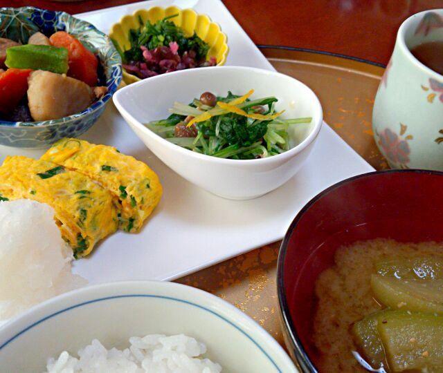 煮物、水菜お浸しは残りもの^^; 九条葱入り出汁巻卵と茄子のお味噌汁、みぶ菜、きざみしば漬け、ほうじ茶です。盛り合わせただけです^^; - 92件のもぐもぐ - ~昨晩の残りもので、朝食を^^;~ by kzsyk