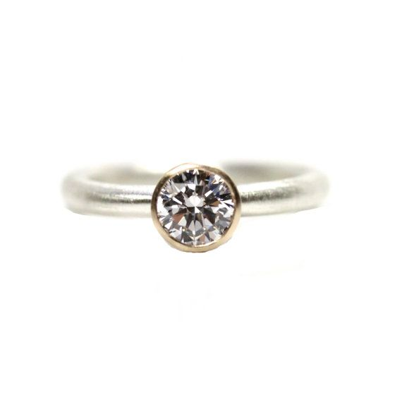 Modern Silver Gold CZ Engagement Ring  by NangijalaJewelry on Etsy, $195.00