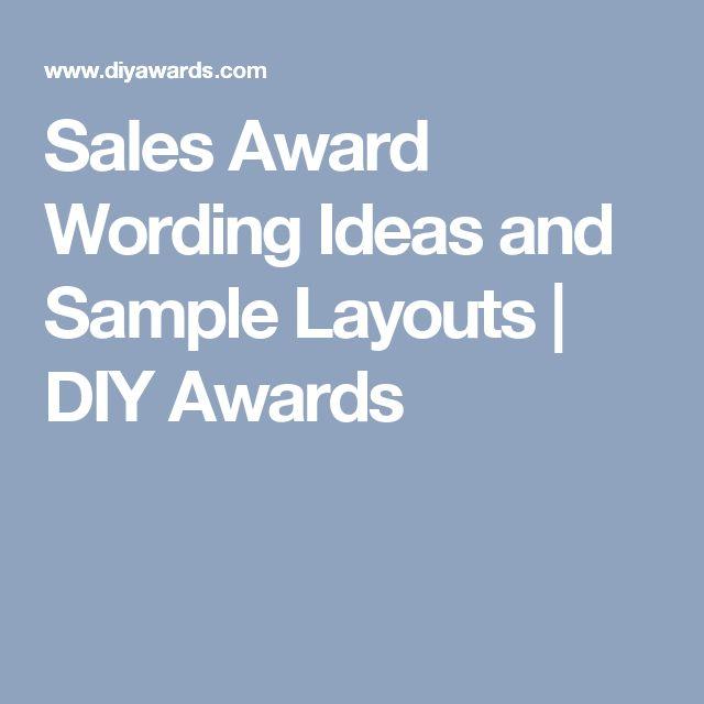 sales award wording ideas and sample layouts