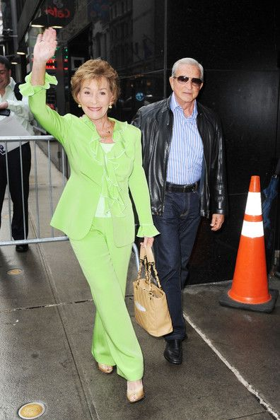 "Judith Sheindlin, aka Judge Judy arrives at ""Good Morning America"" in New York City wearing a haute couture bright lime green pants suit designed by Susanna Beverly Hills. Wednesday May 16, 2012.  www.susannabh.com"