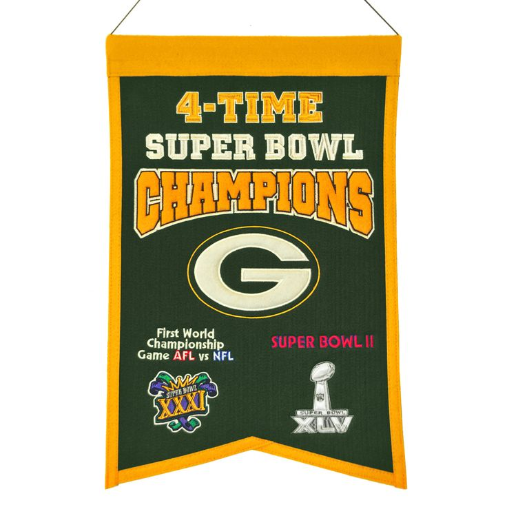 """This 14"""" x 22"""" beautifully embroidered banner commemorates the Green Bay Packers four Super Bowl championships."""