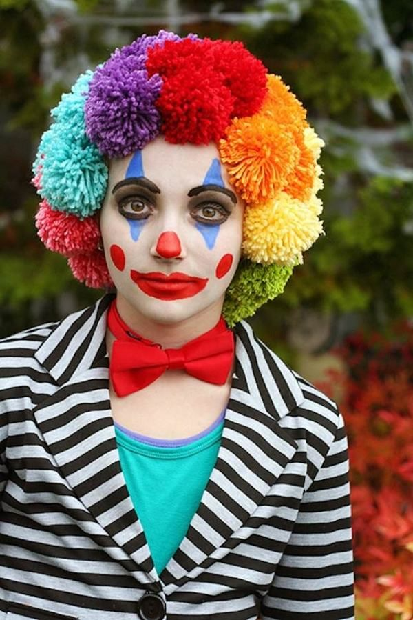 DIY clown make up halloween makeup ideas easy makeup colorful wig