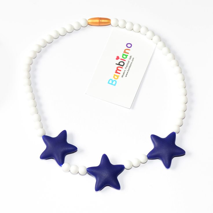 Bambiano Tona Star Necklace in Deep Sea Blue. Bambiano Jr Necklaces are made of 100% Food grade silicone. BPA free, Lead free and nontoxic. Fashionable for trendy girls 3 years and above. Necklaces are colourful, washable and soft against the skin. Shop at www.bambiano.com