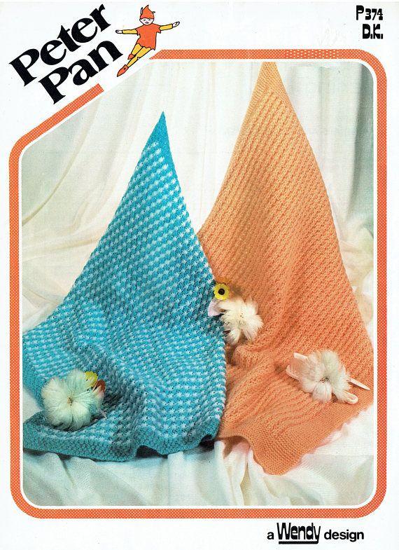 PDF Vintage Baby 2 Blanket Shawl Knitting Pattern EASY 1960s