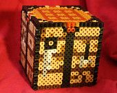 Minecraft Workbench Inspired Box Made of Perler and Hama Beads with Removable Lid