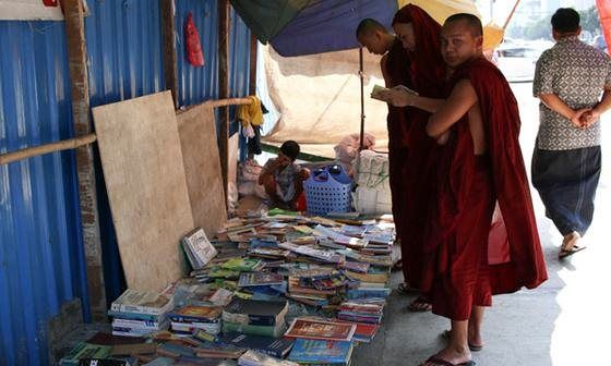 If you want to learn the history of Myanmar's biggest city, head to the road where all the city's books end up. Claudia Sofia Sosa strolls the same streets as Orwell and Neruda