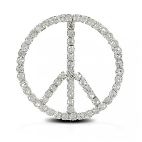 Bling Jewelry Gold Plated Rhinestones Peace Sign Pin Brooch