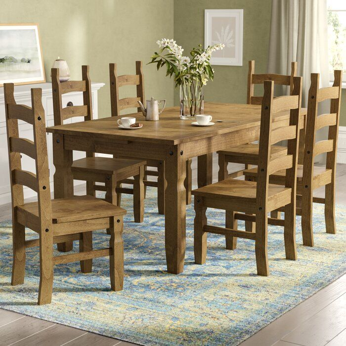 Dodge Dining Set With 6 Chairs Wooden Table And Chairs Dining Table Wooden Dining Tables