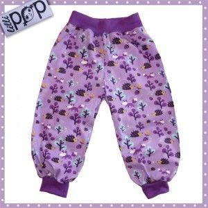 LilliPOP barnkläder: LilliPOP byxor i lila med söta igelkottar.
