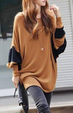 Loose-Fitting Style Bat-Wing Sleeves Scoop Neck Color Block T-shirt For Women