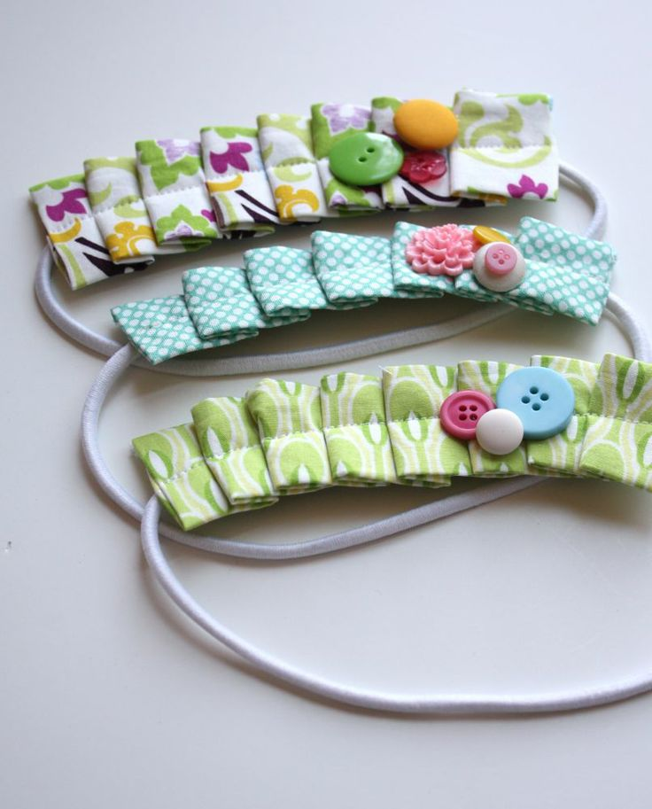 Pleated headbands - so cute and hopefully a way to keep growing bangs out of her eyes (since she refused to wear clips!)