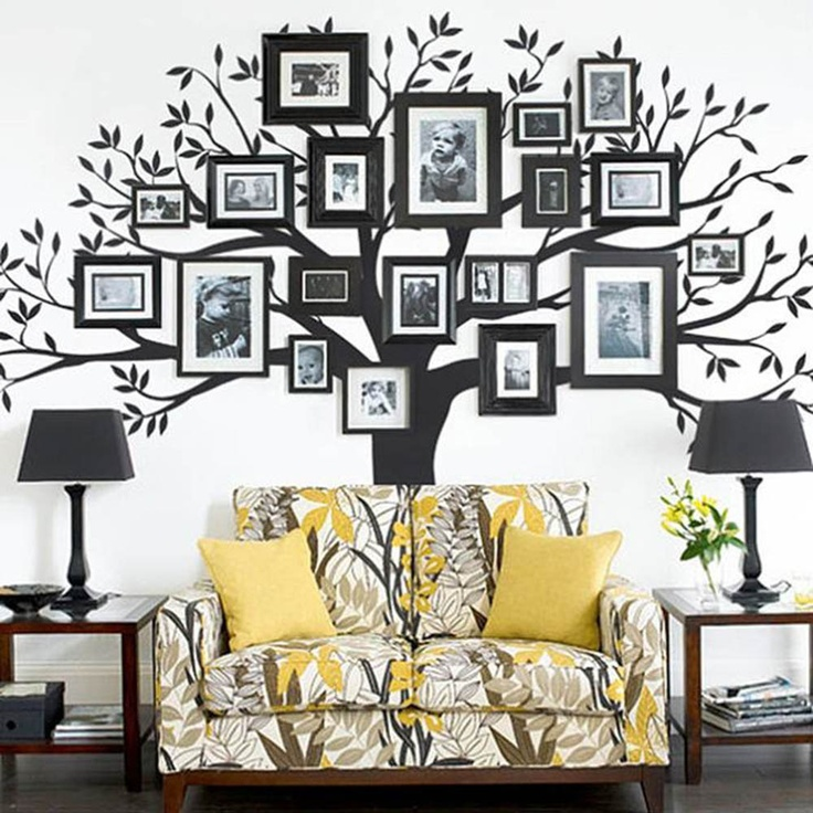 photo tree behind couch.