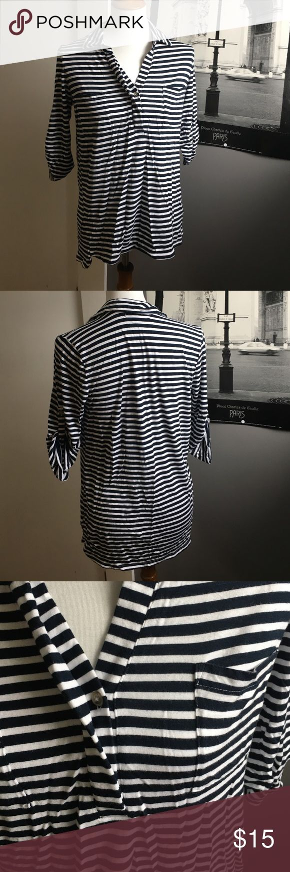 Liz Claiborne Shirt | Great Condition | Navy and White stripes | Two pockets on front | one button | Liz Claiborne Tops