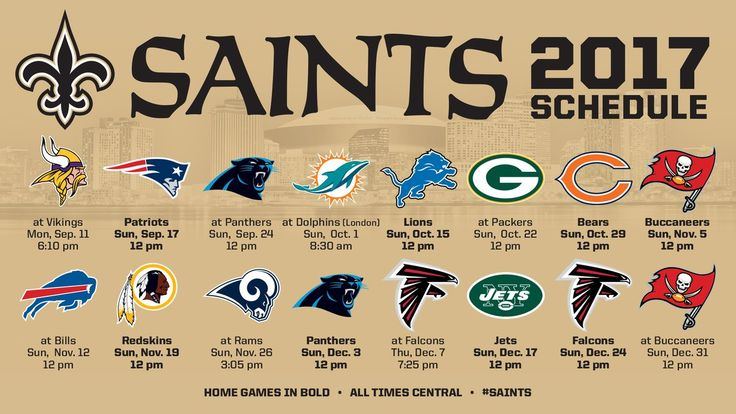 New Orleans Saints schedule 2017: Dates, opponents, tickets, and more - Canal Street Chroniclesclockmenumore-arrow : The Saints face a tough draw to open the year, an early bye week, and three straight NFC North opponents to open 2017.