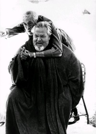 """John Huston and Orson Welles, on the set of """"The Other Side of the Wind"""" [unfinished movie (1971-1976) dir. by Orson Welles]"""