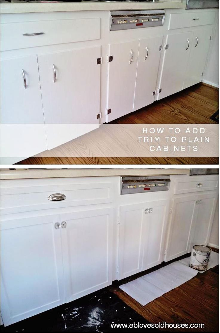 EB Loves Old Houses | How to Add Trim to Old Cabinets - spruce up those old, flat cabinets with this easy DIY trim