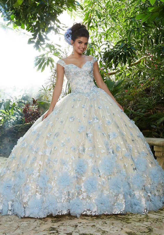 0233616197d Two-Piece Gown with Beaded Lace on Net Top and Ballgown Skirt in ...