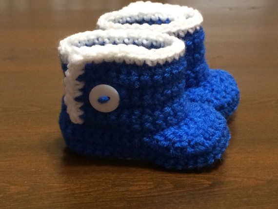 Blue and white boots shoes for baby boy. Size 36 by Hooked4Babies