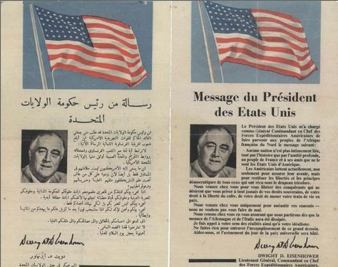 Operation Torch - message from the president of United States to the citizens of Casablanca. A flyer in French and Arabic that was distributed by Allied forces in the streets of Casablanca, calling on citizens to cooperate with the Allied forces. November 1942 (US government)