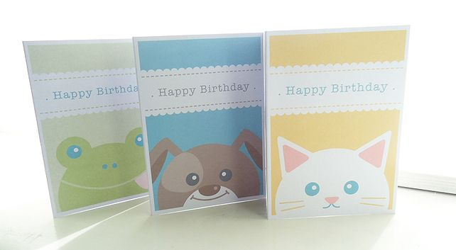 Personalised Animal Birthday Cards - Pack of 3 £6.00