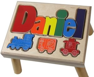 39 best cute personalized baby gifts images on pinterest boys personalized puzzle step stool with train car shapes by tinykeepsakes kids negle Images