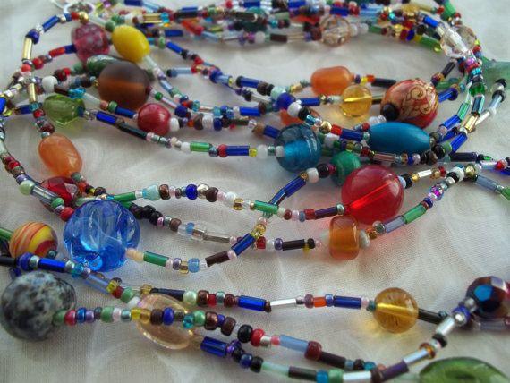 Multi Strand Hippie Beaded Necklace Bohemian by WanderingSaint, $42.00