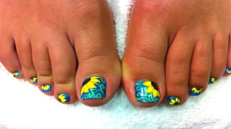 Toe Nail Designs Sunflowers