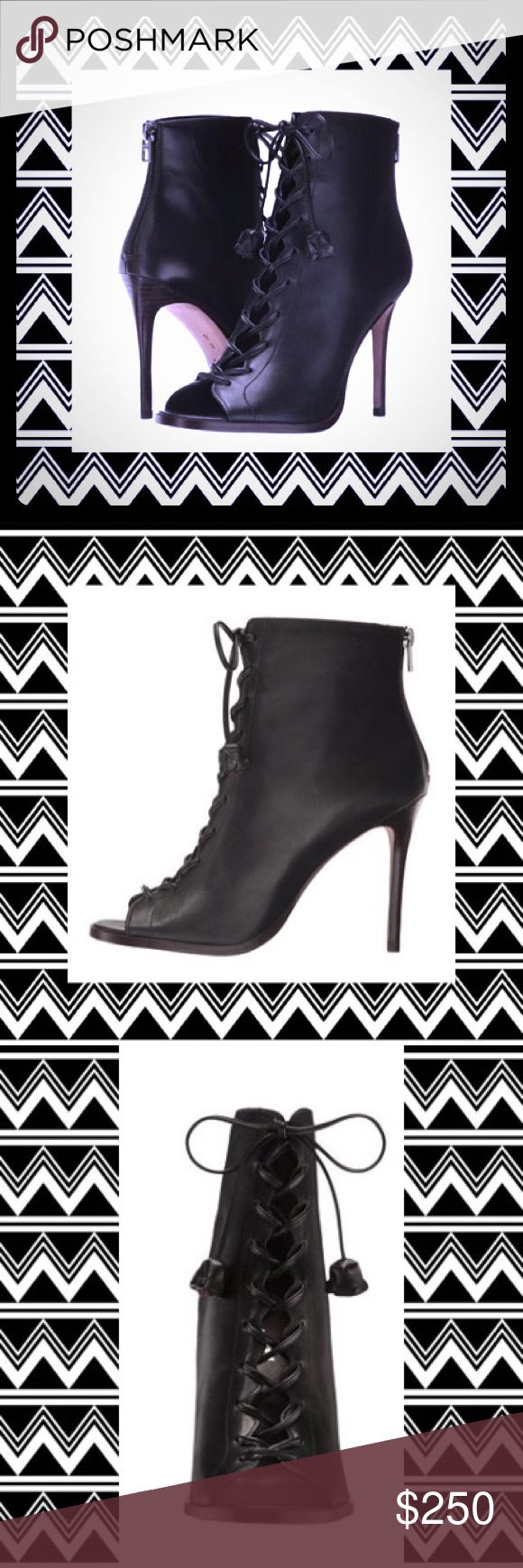 Coach, Lena ❤️ Black Stiletto Ankle Boots Watch heads turn in these sky high black leather stiletto, peep-toe ankle boots from Coach. The Lena is as sexy as they are sophisticated. With their lace-up design that ties at the top (combat boot style), playful peep-toe, and comfy leather lined padded inside, these boots are the whole package wrapped in a black stiletto ankle boot. Get them while you can bc at this price, they won't last long. NIB! Coach Shoes Ankle Boots & Booties