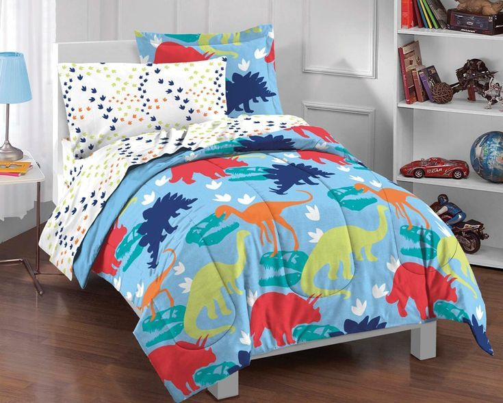 dinosaur blue bedding little boys comforter set 5pc twin blue bed in a bag ensemble