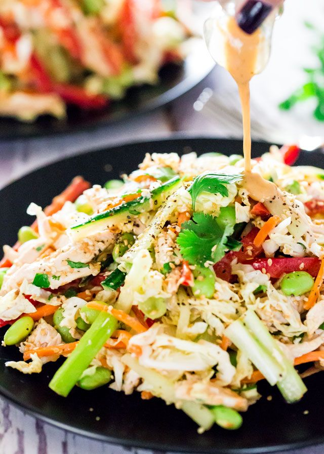Asian Chopped Chicken Salad - a simple chopped salad with chicken and loaded…