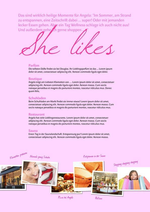 Beschreibung der Braut - She likes - kostenlose Vorlage für die Hochzeitszeitung auf www.jilster.de