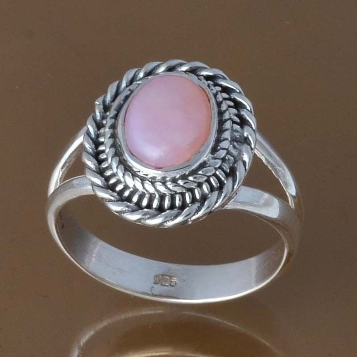 EXCLUSIVE 925 STERLING SILVER PINK OPAL RING 4.24g DJR8410 SZ-7.5 #Handmade #Ring