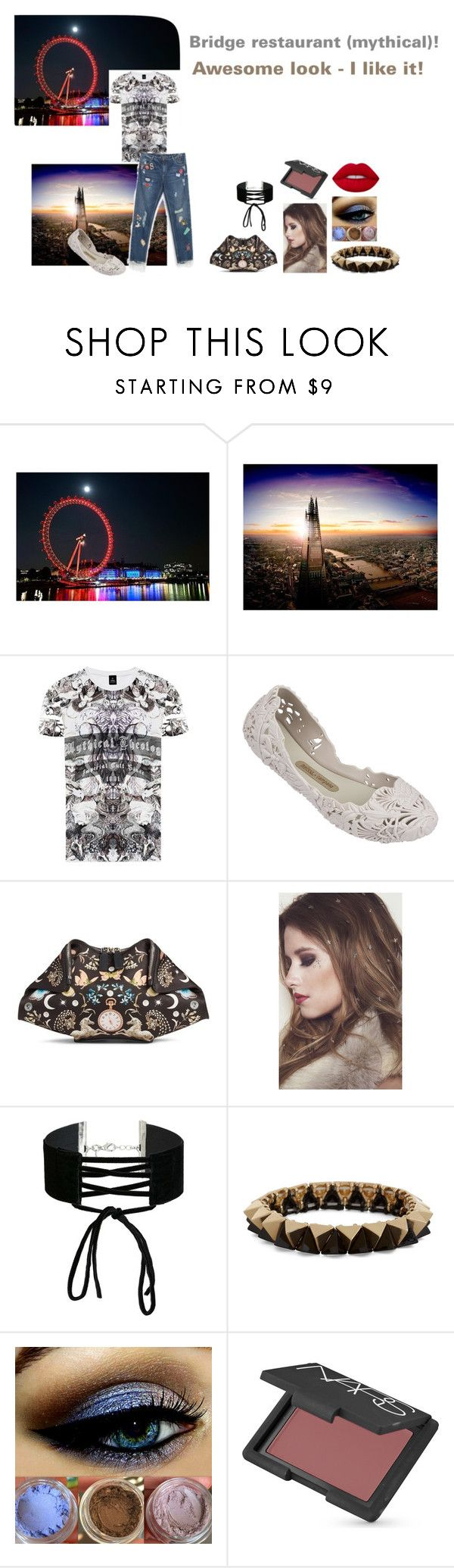 """For Scarlett (friend) - Scarlett's ideal wardrobe by me: #208: Bridge restaurant (mythical)!"" by sarah-m-smith ❤ liked on Polyvore featuring RADDAR7, Melissa, Alexander McQueen, In Your Dreams, Miss Selfridge, NARS Cosmetics and Lime Crime"