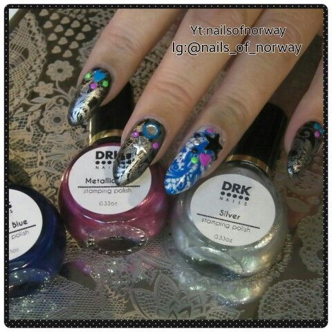 Stamped with DRK Themes Enlaced stamping plate and polishes.