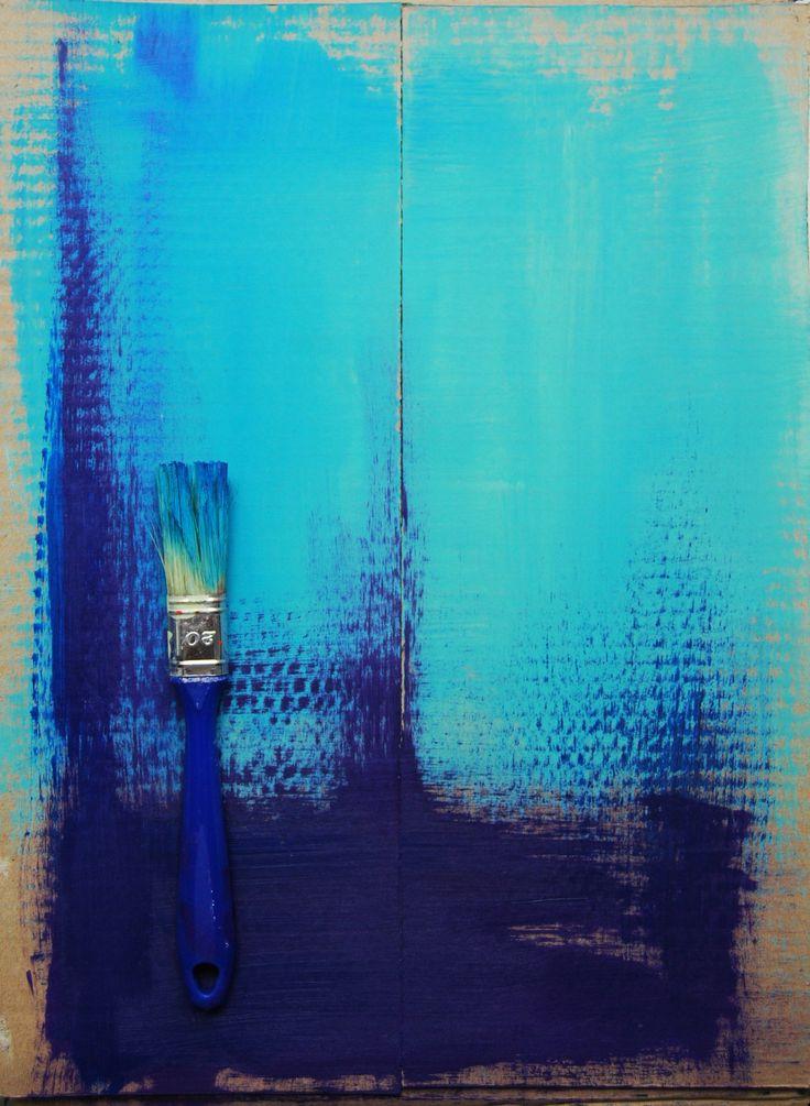 acrylic on cardboard - #acrylic #abstract #painting #brush #drybrush #turquoise #blue #lazur