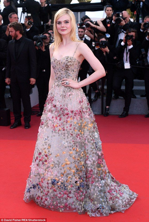 Elle Fanning in a floral embellished tulle spaghetti-strap gown by Christian Dior: 2017 Cannes Film Festival
