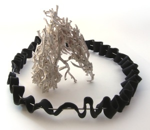 'intertwined', 2012 by Karin Beaumont & Vicki West. silver, anodised aluminium, bull-kelp at 146 Art Space