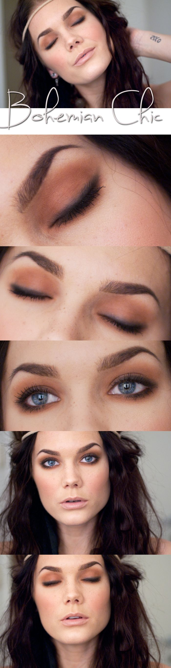 Soft , natural smoky eyes.