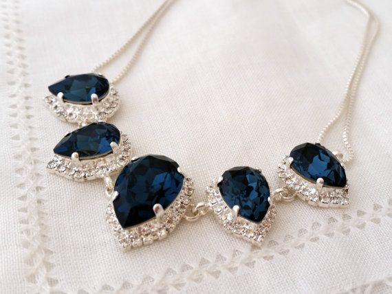 Marine Blau Swarovski Kristall Halskette Braut von EldorTinaJewelry