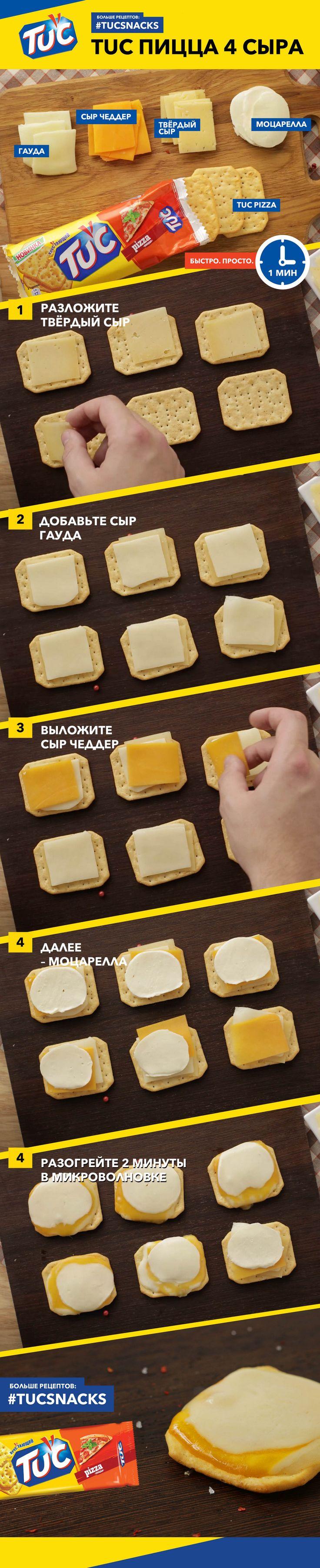 TUC пицца 4 сыра. Больше сыра!! Тебе понадобится весь сыр, который ты найдёшь в супермаркете. Шутим. Только чеддер, гауда, моцарелла и любой твердый сыр. Не забудь крекер - TUC Pizza.  Рецепт прост до невозможности: кусочки сыра выложи в любом  порядке на крекере и подогрей в микроволновой печи в течении 1.5-2 минут. Лучше проверь :)  #tucsnacks #tuc