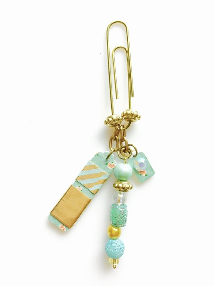 Tag Washi Tape Paperclip Charm/  Bookmark (Mint Rose Garden)
