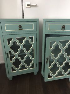 Teal Antique style nightstands / night tables