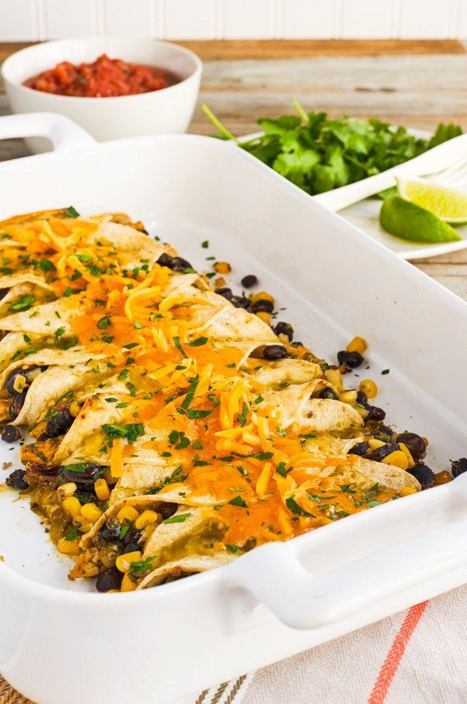 Enchiladas di pollo e fagioli neri