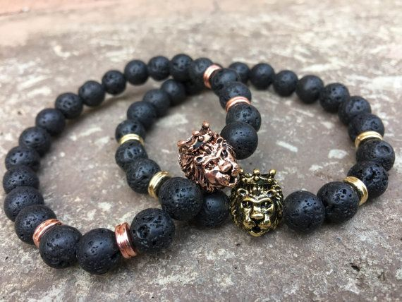 Lion Bracelets  King and Queen  Beaded by GalaxyAccessoriesMI