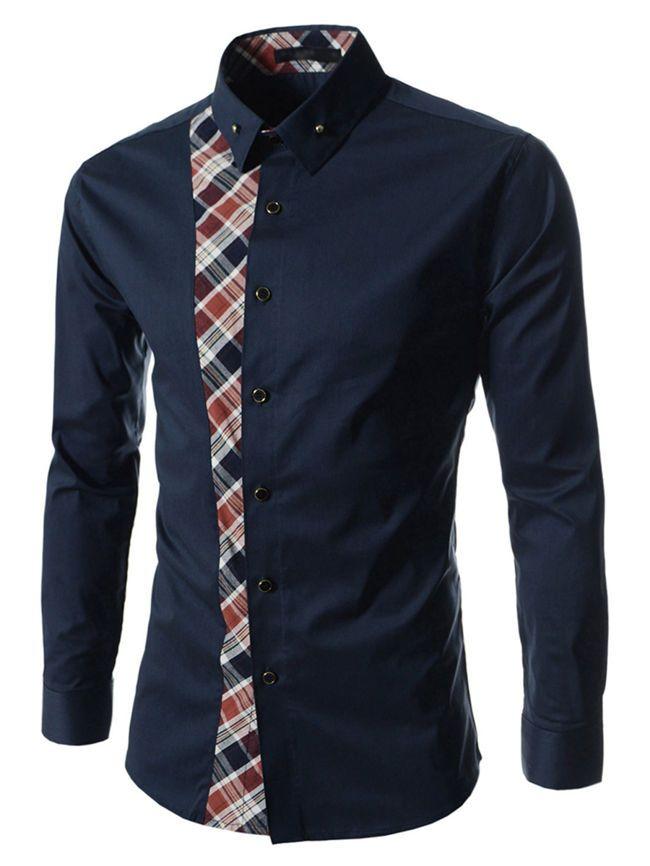 Plaid Patchwork Turn Down Collar Men Shirts - fashionMia.com